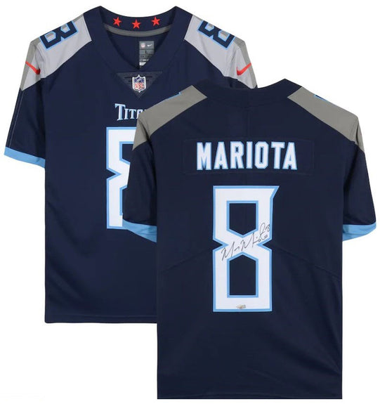 Marcus Mariota<br>Tennessee Titans<br>Original signiertes Nike Navy Blue Limited Jersey