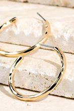Load image into Gallery viewer, Gold Hammered Metal Hoop Earrings