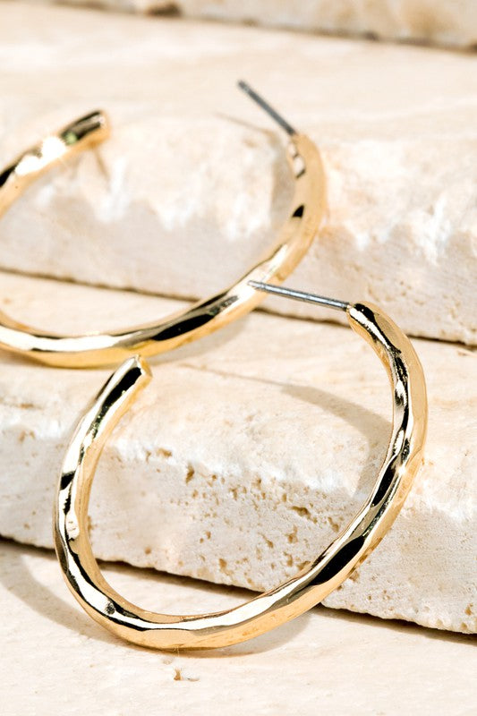 Gold Hammered Metal Hoop Earrings