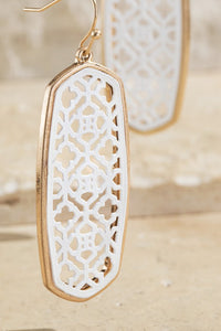 White Oval Accent Earrings
