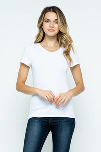 Plain White V-Neck Tee
