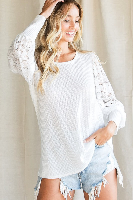 Ivory With Full Lace Sleeve