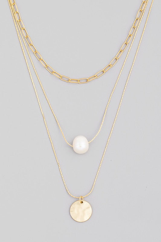 Layered Pearl Disc Necklace