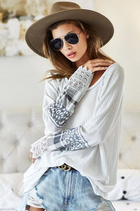 White Buffalo Plaid Sleeve Top