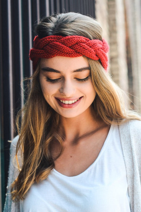 Cherry Red Braided Headband