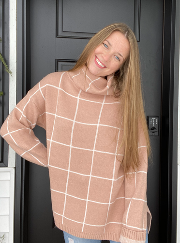 Apricot Grid Sweater