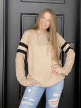Load image into Gallery viewer, Taupe Varsity Stripe Tunic