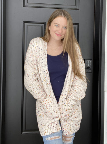 Confetti Knit Open Front Cardigan