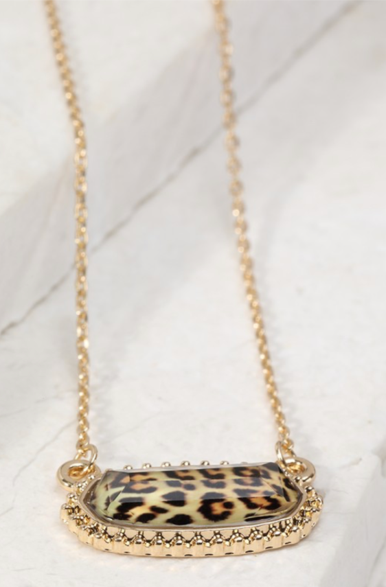 Oval Charm Necklace - Leopard
