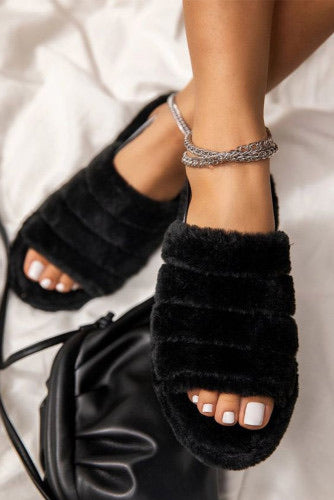 Walking On Clouds Slippers- Black
