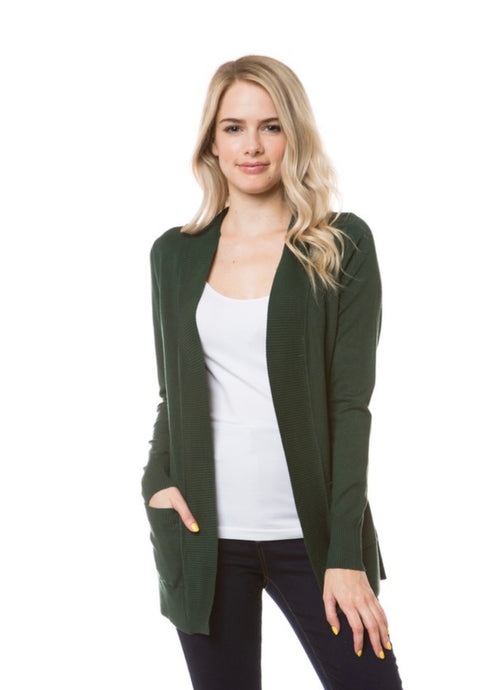 Mid Length Open Front Cardi- Green