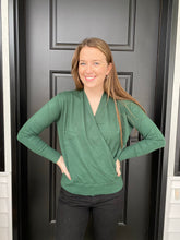 Load image into Gallery viewer, Forest Green Twist Front Sweater