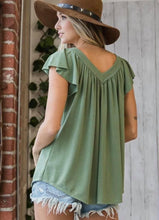 Load image into Gallery viewer, Sage Pleated V-Neck