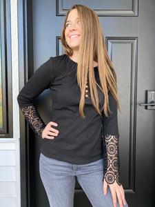 Black Crochet Henley Long Sleeve