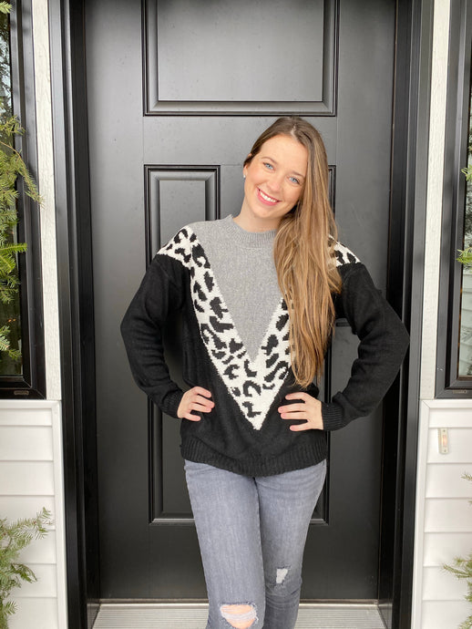 Grey and Black Leopard Sweater