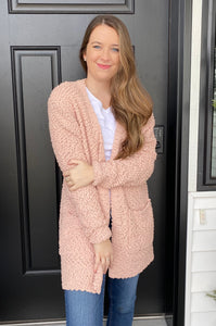 Dusty Pink Popcorn Cardigan