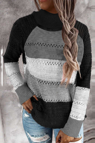 Black and Grey Knitted Turtleneck