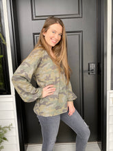 Load image into Gallery viewer, Camo Puff Sleeve Top