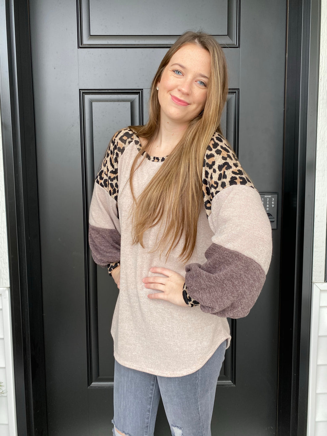Taupe Cheetah Block Top