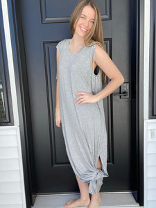 Knotted Lace Grey Dress