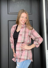 Load image into Gallery viewer, Pink Plaid Pocket Button Up