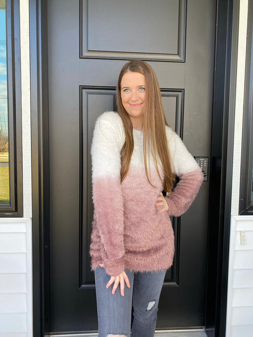 Fuzzy Vibes Ombré Sweater