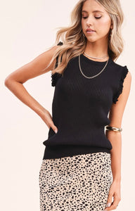 Black Ruffle Sweater Tank
