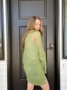 Moss Knit Netted Cardigan