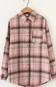Pink Plaid Pocket Button Up
