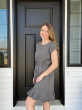 Load image into Gallery viewer, Charcoal Raglan Cap Sleeve Dress