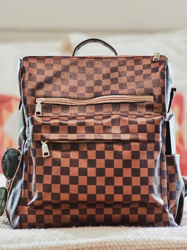 Brown Check Backpack