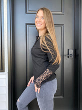 Load image into Gallery viewer, Black Crochet Henley Long Sleeve