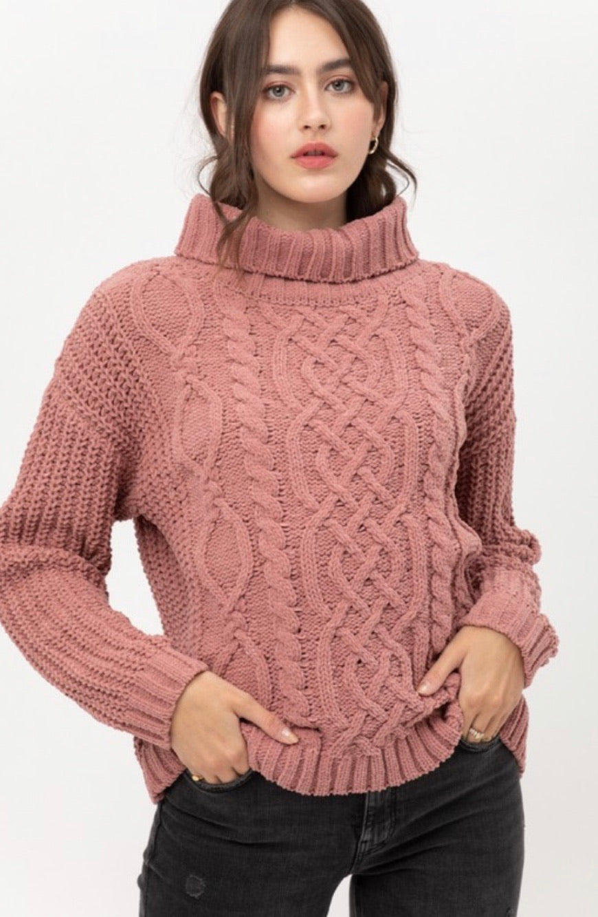 Mauve Cable Knit Sweater