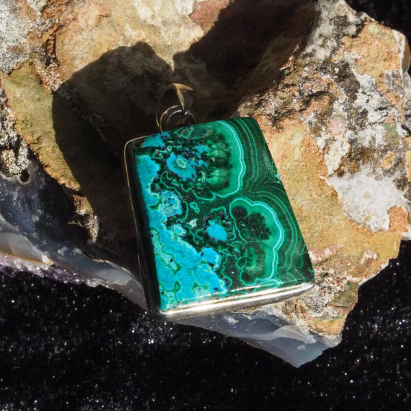malachite in chrysocolla tapered rectangle pendant