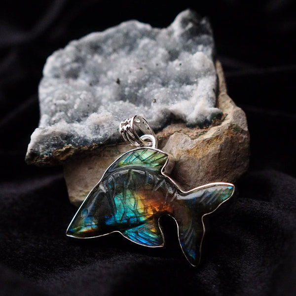 multicolored labradorite fish pendant