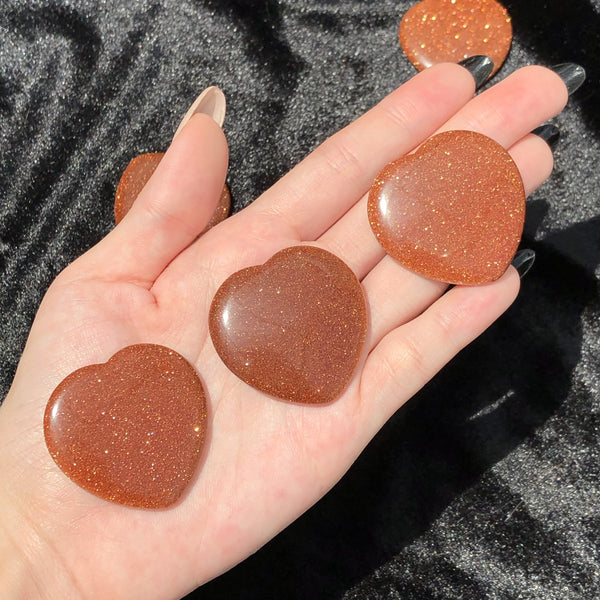 goldstone heart worry stone