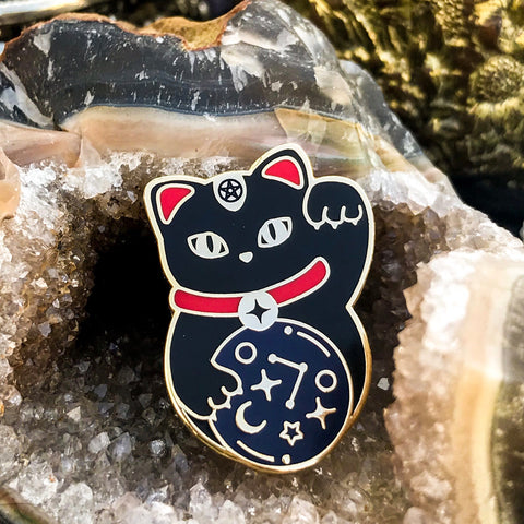 """un-lucky cat"" enamel pin"