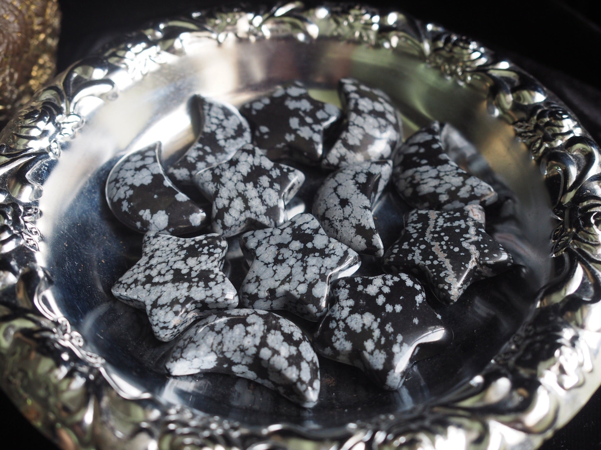 Snowflake Obsidian Stars and Moons