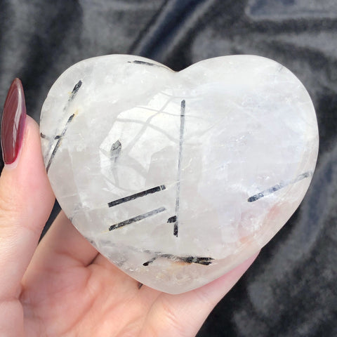 tourmalinated quartz heart D