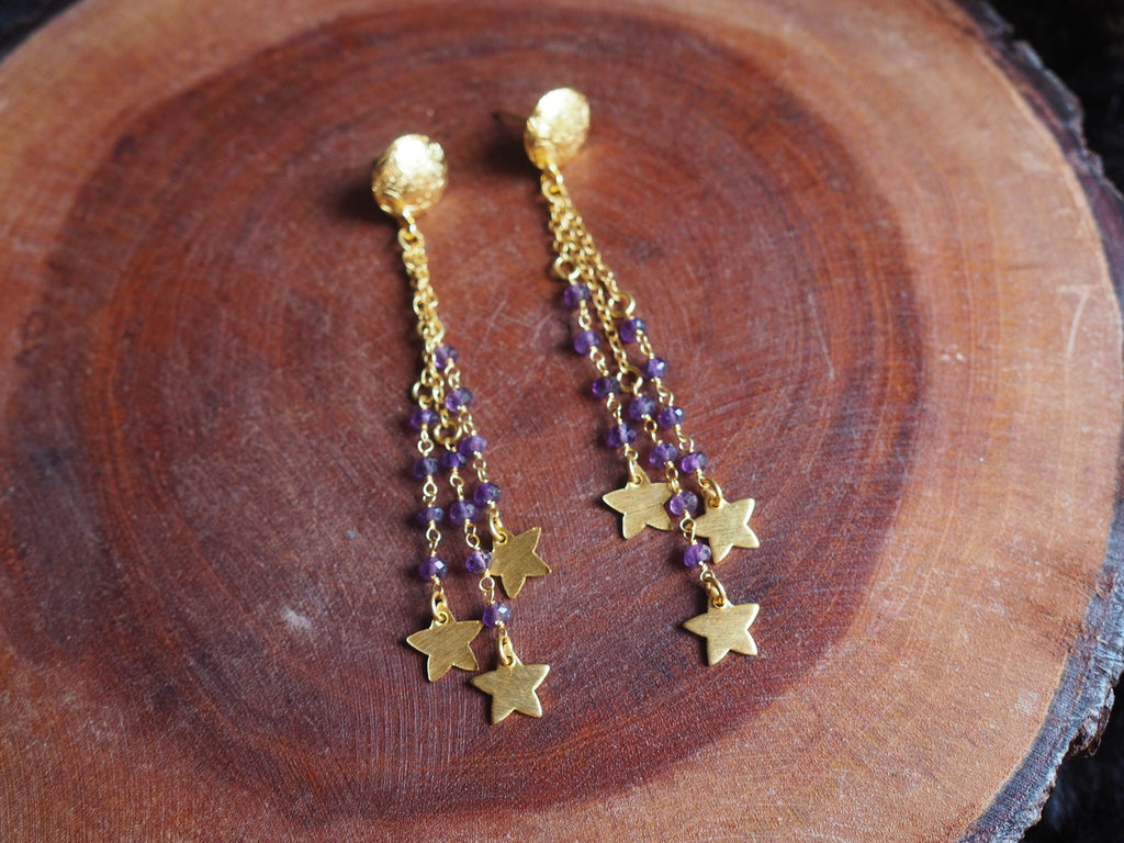 Amethyst Gold Stars Dangle Earrings