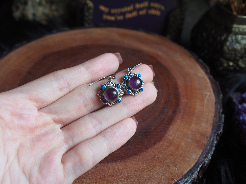 Amethyst & Opal Earrings (Sterling Silver)