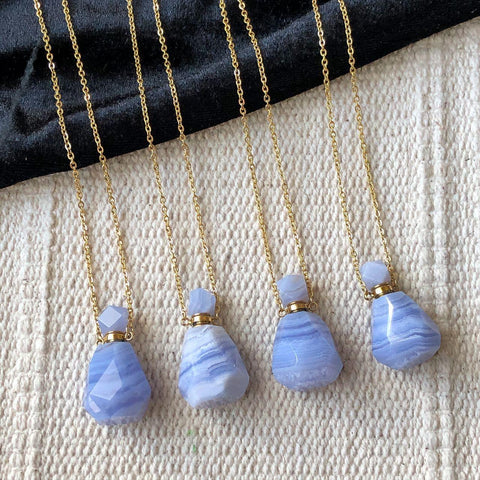 blue lace agate faceted perfume bottle necklace