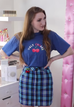 Cherry T-Shirt + Blue Embroidered Skirt Two-piece suit KF2126