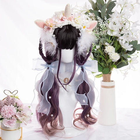 black purple wig KF81333