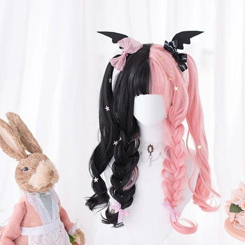 Black pink long curly wig KF81474