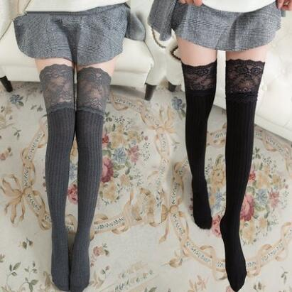 Cute students lace stockings  KF2050