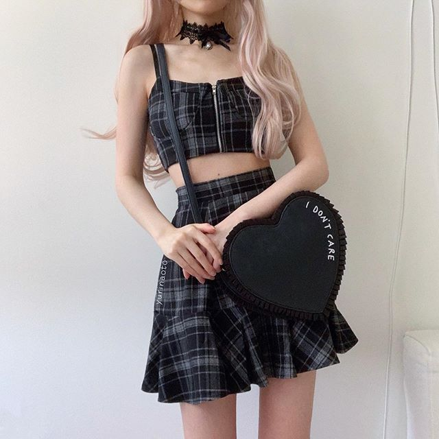 Black plaid two-piece set KF90488