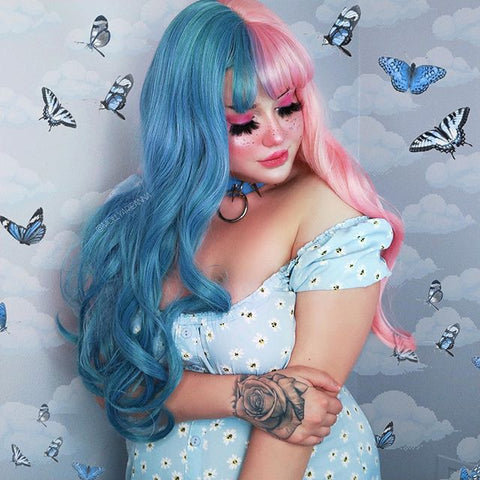Blue powder Harajuku wig KF25001