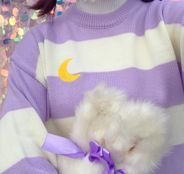 Striped moon sweater KF2247