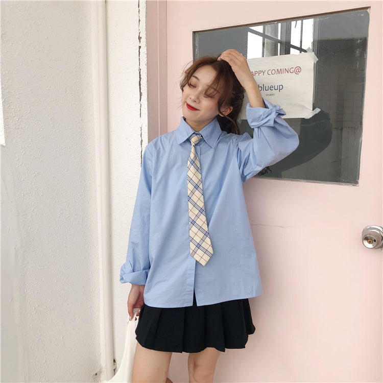 Chic blue shirt + vest KF90132